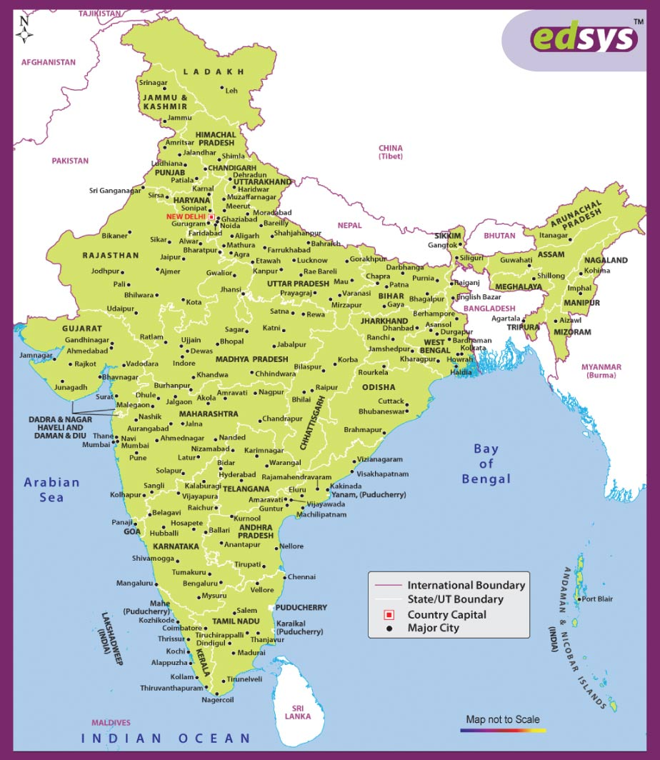 states and capitals of india Map
