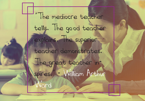 "Teacher Appreciation - 1. ""The mediocre teacher tells. The good teacher explains. The superior teacher demonstrates. The great teacher inspires."" - William Arthur Ward"
