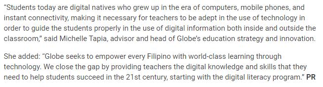 1000 Teachers to Get Digital Literacy Skills Training From Globe Telecom Program