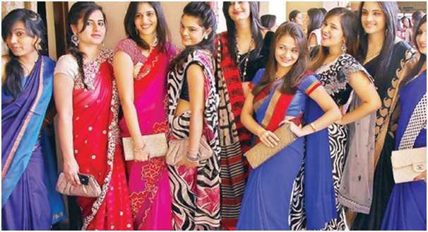 "Wait for the senior ""saree day"""